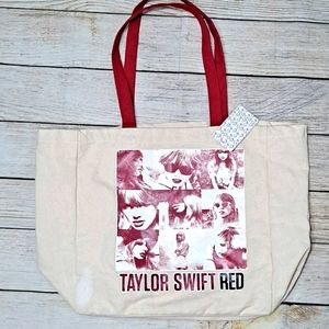 Taylor Swift Red Album Large Canvas Tote Bag NWT